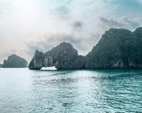 Beautiful karsts in Halong Bay Vietnam