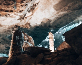 Stalagmites in a cave in Halong Bay Vietnam