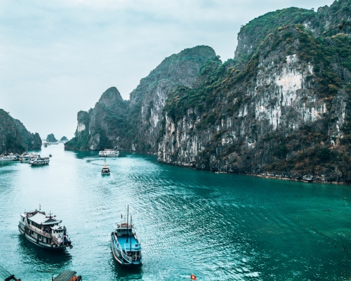 The view from a lookout in Halong Bay Vietnam