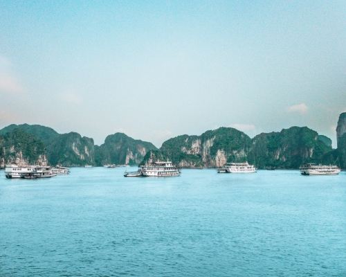 Tour boats in Halong Bay Vietnam